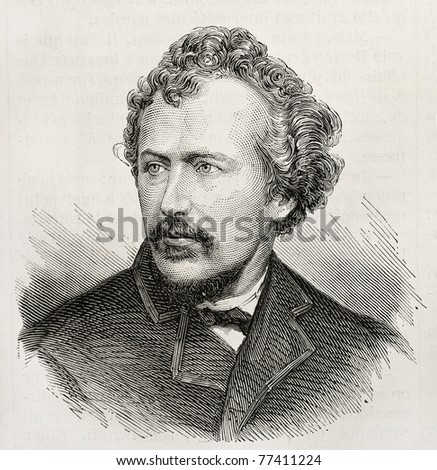 Old engraved portrait of George Francis Train, American businessman and eccentric author. Original, created by Chenu, was published on L'Illustration, Journal Universel, Paris, 1868 - stock photo