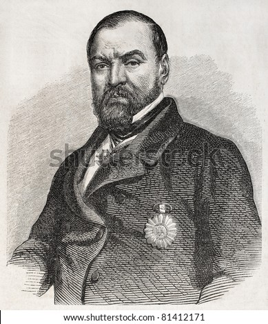 Old engraved portrait of Ignacio Comonfort, President of Mexico. Created by Marc, published on L'Illustration, Journal Universel, Paris, 1857 - stock photo