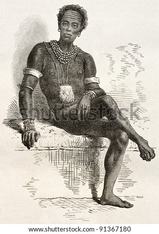 Old engraved portrait of Joctian, native African, leader of Nouers tribe ( lake Victoria area). Created by Neuville, published on Le Tour du Monde, Paris, 1867 - stock photo