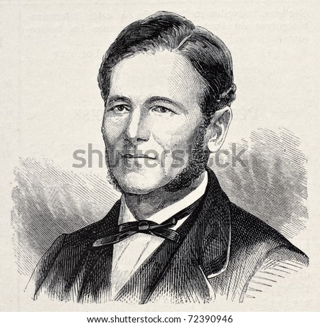 Old engraved portrait of Manuel Taboada,  Argentinian politician and statesman. Original, created by Chenu, was published on L'Illustration, Journal Universel, Paris, 1868