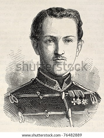 Old Engraved portrait of Prince Ernest Augustus of Hanover. Created by Chenu, published on L'Illustration, Journal Universel, Paris, 1868 - stock photo