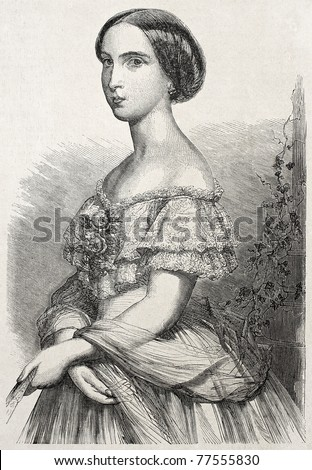 Old engraved portrait of Princess Charlotte of Belgium. Created ny Schubert, published un L'Illustration Journal Universel, Paris, 1857 - stock photo