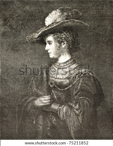 Old engraved portrait of Saskia van Uylenburgh, Rembrandt's wife. Drawing of Lamy after picture Rembrandt, published on L'Illustration, Journal Universel, Paris, 1868 - stock photo