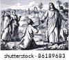 "Old engraving. Good Shepherd. The book ""History of the Christian Religion"", 1880 - stock photo"