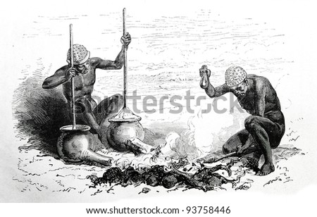 Old engraving of blacksmith in Latuk tribe. Created by Neuville, published on Travel to upper Nile and exploration of its sources by Sir Samuel White Baker (British explorer), Moscow, 1868 - stock photo