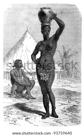 Old engraving of Girl in Obbo tribe. Created by Neuville, published on Travel to upper reaches of the Nile and exploration of its sources by Sir Samuel White Baker (British explorer), Moscow, 1868 - stock photo