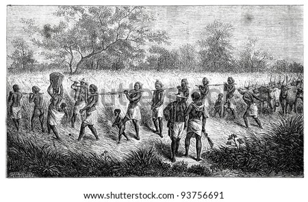 Old engraving of Group of slaves. Created by Neuville, published on Travel to upper reaches of the Nile and exploration of its sources by Sir Samuel White Baker (British explorer), Moscow, 1868 - stock photo