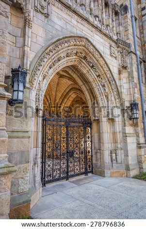 Old entrance of Yale university buildings in New Haven, CT USA - stock photo