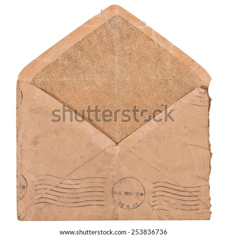 Old envelope isolated. - stock photo