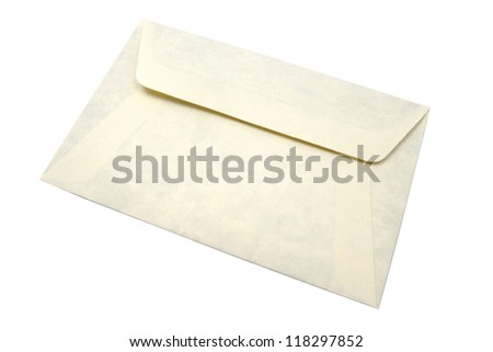Old envelope isolated on white background. - stock photo