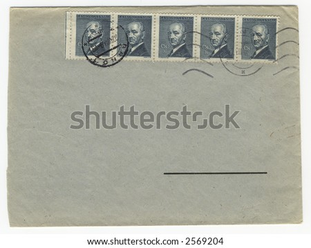 old envelope with blank address field - stock photo