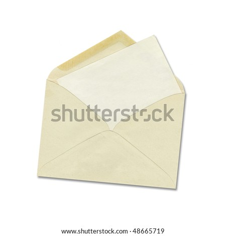 Old envelope with blank paper isolate in white