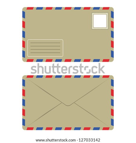 Old Envelope with Postage Stamp Front and Back, Isolate over White Background