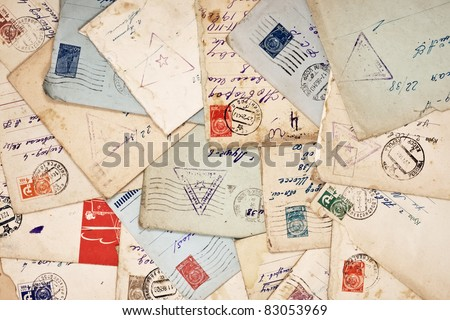 old envelopes as a background - stock photo
