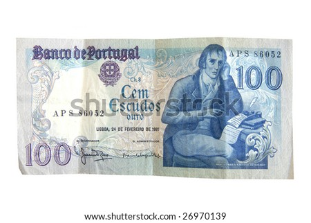 Old  Escudo bills from Portugal isolated on white.