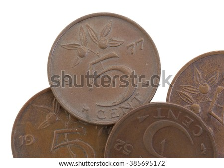 Old 5 euro cent coins, isolated on white, selective focus - stock photo