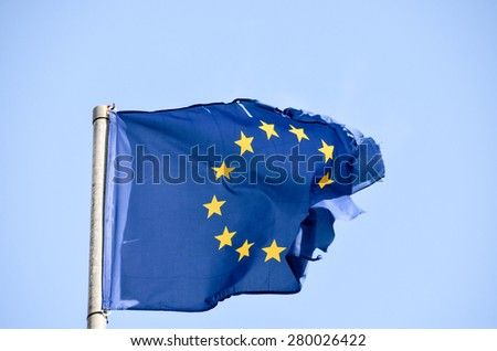 Old European Flag on a Blue Sky