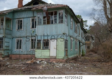 Old evicted and destroyed house