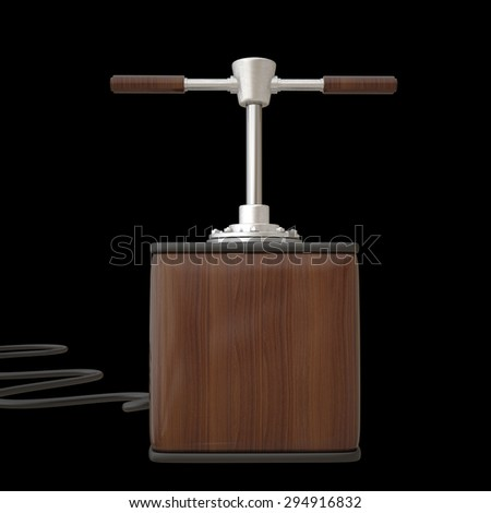 Old explosive detonator  isolated on black background - stock photo