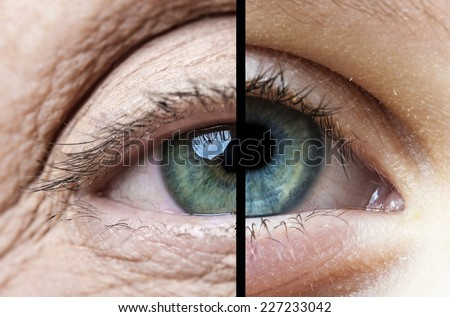 old eye and young eye - stock photo
