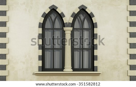 Old facade with mullioned gothic window with stone frame and column- 3D Rendering - stock photo