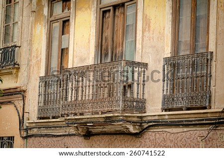Old facades in the heart of Valencia Cabanyal district - stock photo