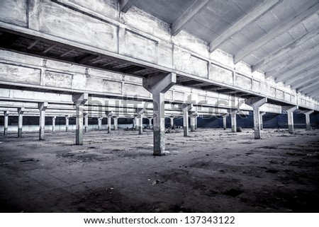 Old factory buildings, spacious workshop