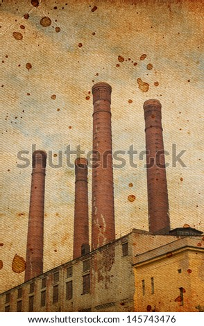 old factory, vintage background - stock photo
