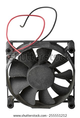 Old fan for cooling CPU isolated on white background with clipping path - stock photo