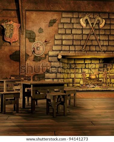 Old Fantasy Tavern Fireplace Stock Illustration 94141273 ...