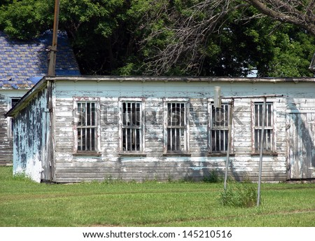 old farm building shed chicken coop - stock photo
