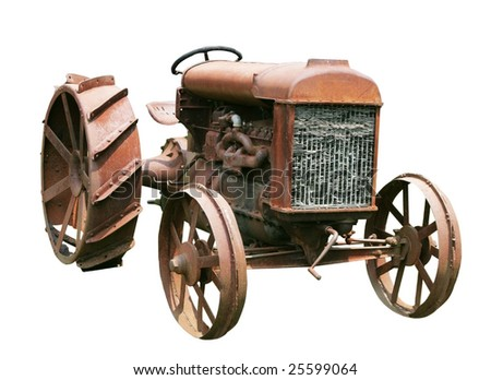 old farm tractor with clipping path - stock photo
