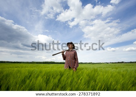 Old farmer carrying hayfork on shoulder and walking through green barley field in spring - stock photo