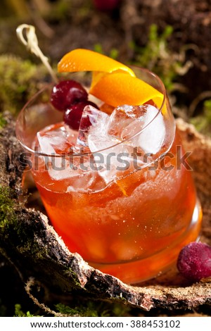 Old Fashion Cocktail - Bourbon, Cane Sugar, Bitter and Orange Peel - stock photo