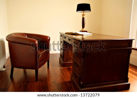 Old fashion desk and chair. - stock photo