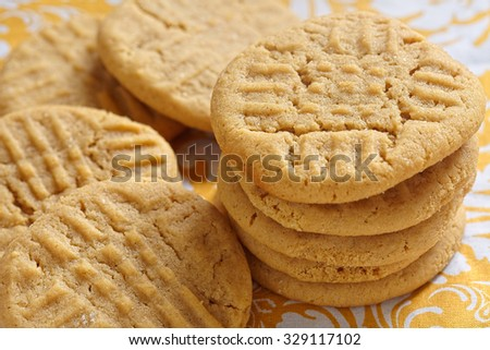 Old fashion peanut butter cookies on a table
