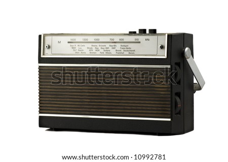 Old fashion retro style radio isolated on white background - stock photo