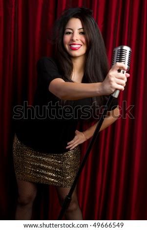 Old Fashion Singer - stock photo