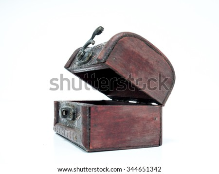old fashion small box  to collect treasure. a container craft by wood, metal and leather. - stock photo