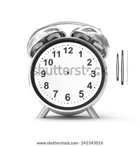 Old fashioned alarm clock isolated on white with adjustable time - stock photo