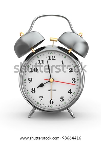 Old-fashioned alarm clock on white background. 3d - stock photo