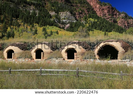 Old fashioned brick ovens in the Rocky Mountains, Colorado, USA. - stock photo