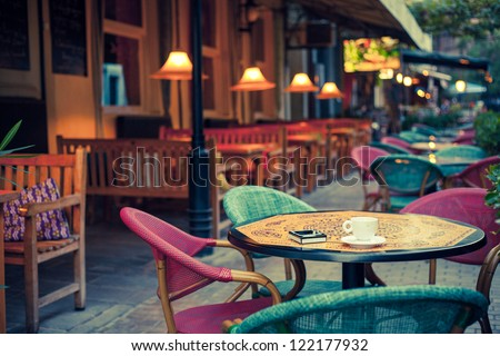 Old fashioned cafe terrace - stock photo