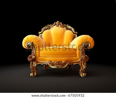 Old-fashioned chair on black background 3D render - stock photo