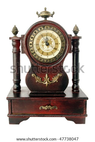 old fashioned clock  isolated on white - stock photo