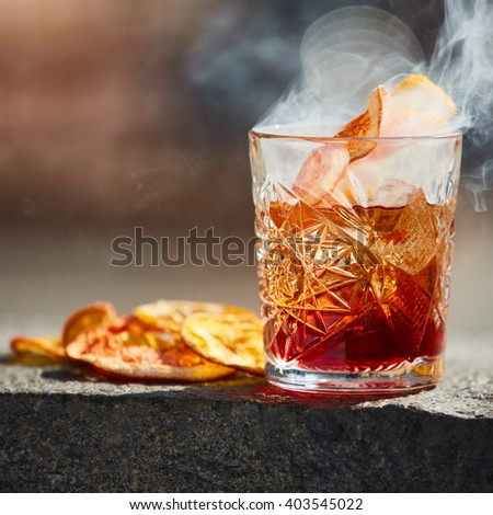 Old fashioned cocktail. Negroni - stock photo