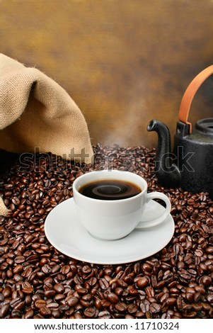 Old fashioned coffee brewing - stock photo