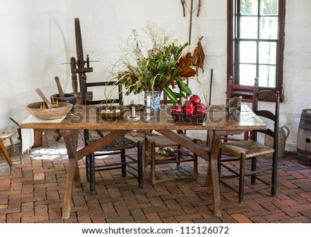 Old Kitchen Tables And Chairs Old fashioned colonial kitchen table chairs stock photo image old fashioned colonial kitchen table chairs food and apples in white room workwithnaturefo