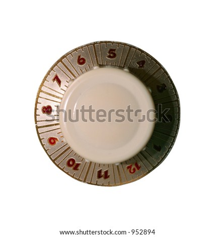 Old fashioned dial button isolated on white with clipping path - stock photo