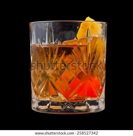 Old Fashioned drink, consisting of bourbon, sugar cube, angostura ...